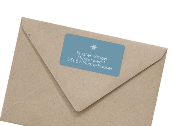 Adressetikett rechteckig zu Weihnachten, Motiv: Goldene Post, mit Briefhülle, Farbvariante: hellblau