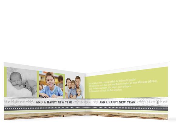 Weihnachtskarten Weihnachtsband, Innenansicht der Farbversion: grau/grün