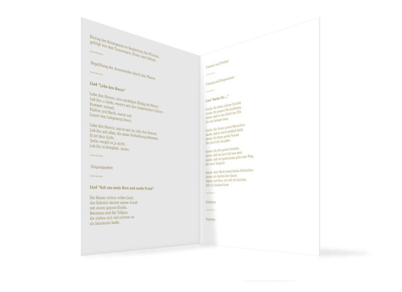 Innenansicht, Klappkarte zur Hochzeit (Kirchenheft), Motiv Colour, Farbversion: beige