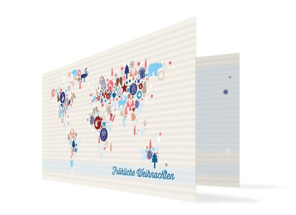 Grußkarten zu Weihnachten Weltkarte