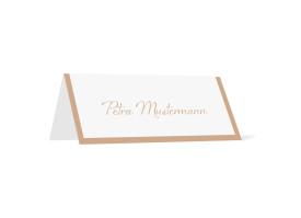 Tischkarten zur Hochzeit Verona (Klappkärtchen quer) Beige