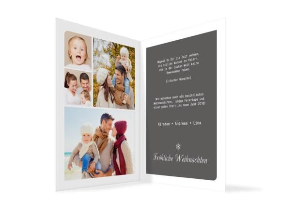 Weihnachtskarten Eiskristall, Innenansicht der Farbversion: grau