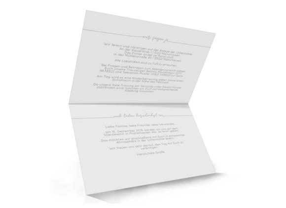Einladungskarten zur Hochzeit , Motiv: Warschau, Innenansicht, Farbvariante: weiss