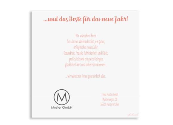Firmen-Weihnachtskarte Pure Deer (Postkarten, quad.), Rückseite in der Farbvariante: apricot