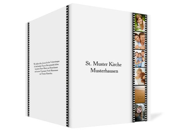 Außenansicht, Klappkarte zur Hochzeit (Kirchenheft), Motiv Hollywood, Farbversion: weiss