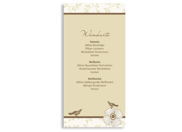 Menükarten zur Hochzeit Oxford (DIN Lang-Karte)
