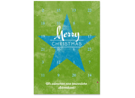 Adventskalender Vintage Star (DIN A4) Blau/Grün