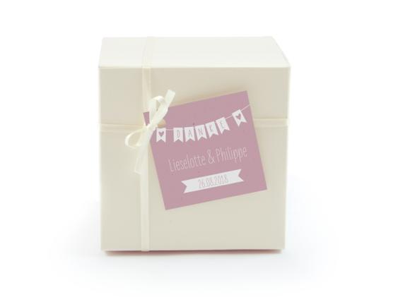 Geschenkanhänger, Motiv: Wimpelkette, Farbvariante: altrosa