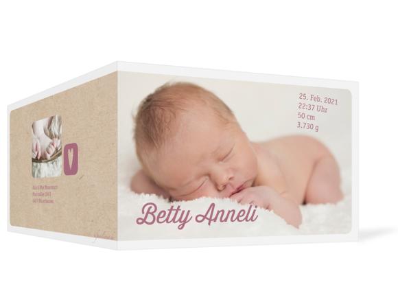 Geburtskarte (Klappkarte A6, 3 Fotos), Motiv: Betty/Boris, Aussenansicht, Farbvariante: altrosa