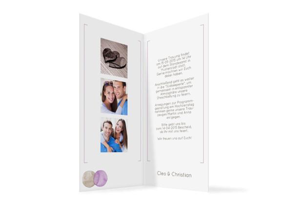 Einladung zur Hochzeit Tahiti, Innenansicht der Farbversion: beige/lila