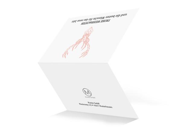 Business-Weihnachtskarte Origami (mit Logo), Außenansicht: apricot