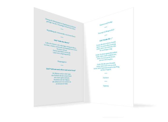 Innenansicht, Klappkarte zur Hochzeit (Kirchenheft), Motiv Helsinki, Farbversion: blau