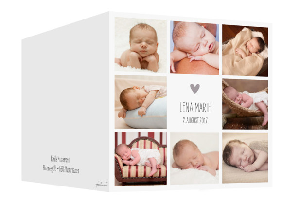 Geburtskarte Lena/Lars, quadr. Klappkarte, Außenansicht in taupe