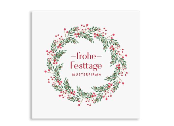 """Firmen-Weihnachtskarte """"Festtage"""" quad. Postkarte"""