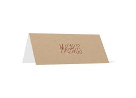 Tischkarten zur Hochzeit Nature (Klappkärtchen quer) Bordeaux