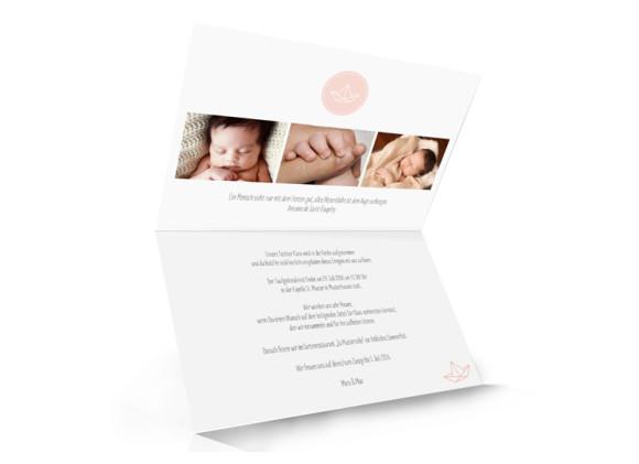 Taufkarte, Motiv Pure Origami, Innenseite, Klappkarte A6, Farbversion: apricot