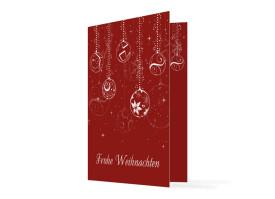Firmen-Weihnachtskarte Weihnachtskugeln Rot