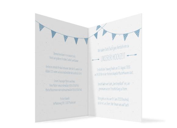 Hochzeitseinladung  Amsterdam, Klappkarte A6 hoch, Innenansicht in hellblau