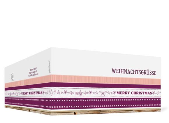 Firmen-Weihnachtskarte Weihnachtsband, Außenansicht in der Farbversion: brombeer/apricot
