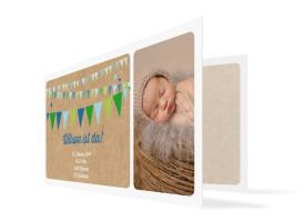 Geburtskarten Wilma/Wilson (Klappkarte, mit 2 Fotos) Blau/Grün