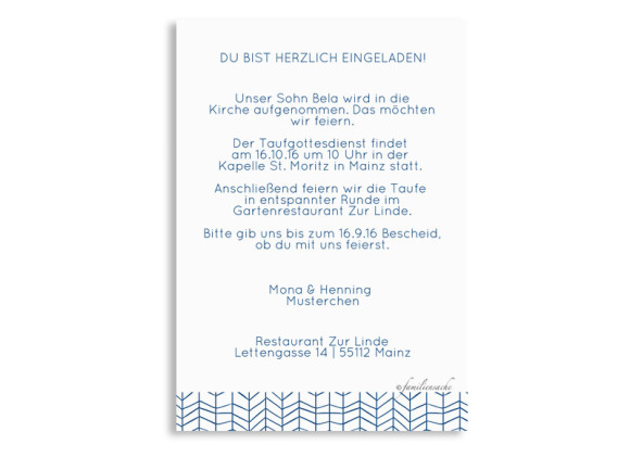 Einladungskarten zur Taufe Bibbi/Bela, Rückseite in dunkelblau