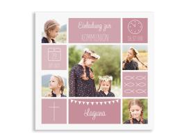"""Kommunionseinladungen """"Bildreich"""" (Quadratische Postkarte) altrosa"""
