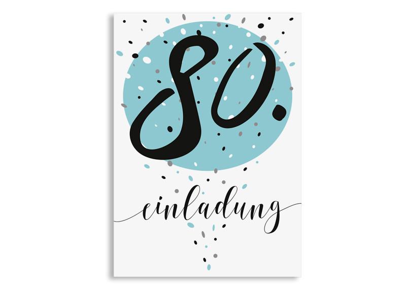 Einladungskarten 80 Geburtstag: Einladung Zum 80. Geburtstag Konfetti