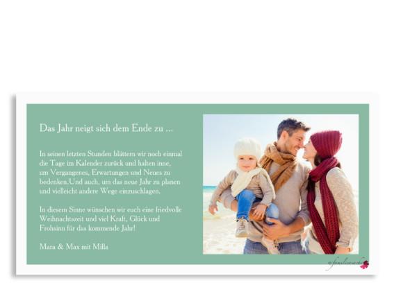Weihnachtsgrußkarte Nizza als Postkarte, Rückseite in pistazie