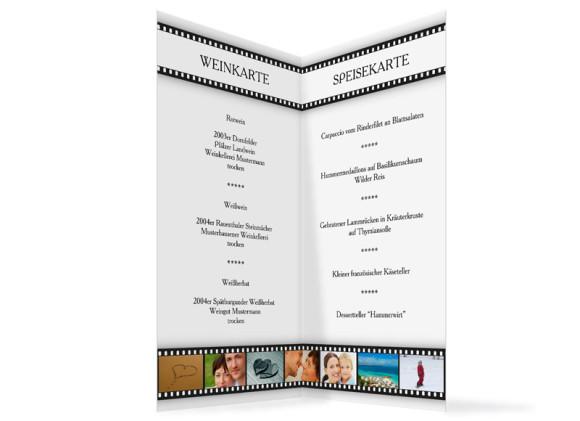 Innenansicht, Menükarte zur Hochzeit (Klappkarte), Motiv Hollywood, Farbversion: weiss