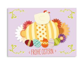 Osterkarten Henne (Postkarte) Flieder