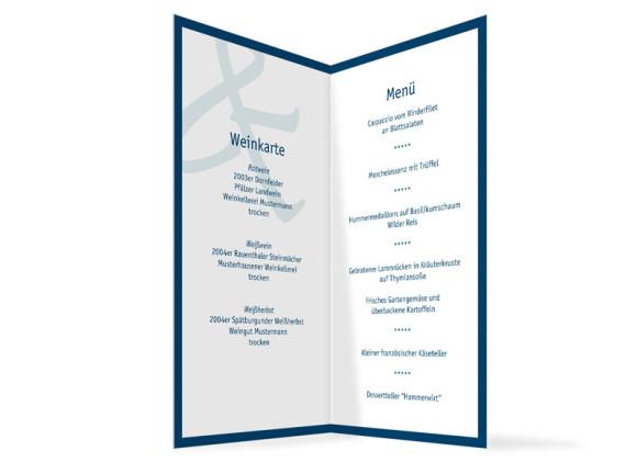 Innenansicht, Menükarte zur Hochzeit (Klappkarte), Motiv Bern, Farbversion: blau