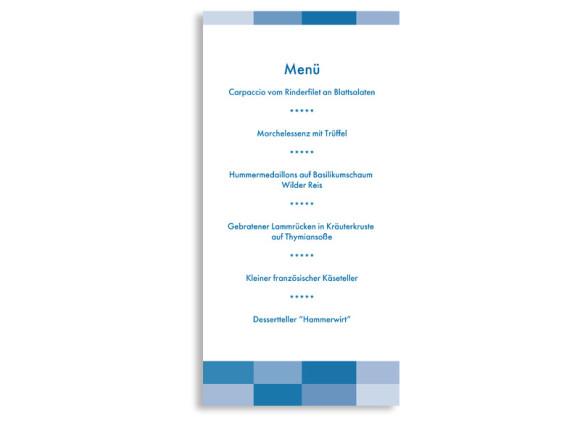 Rückseite, Menükarte zur Hochzeit (DIN Lang-Karte, zweiseitig), Motiv Stockholm, Farbversion: blau