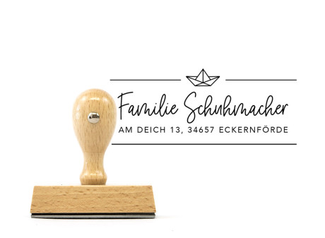 "Familien-Stempel ""Eckernförde"" (rechteckiger Holzstempel), ca. 70 x 30 mm"