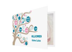 Babykarte Lebensbaum Petrol