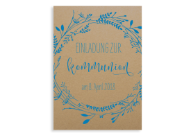 """Kommunionseinladung """"Blumenkranz Natural"""" (Postkarte ohne Foto) blau"""