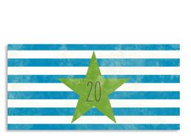 Einladung zum 20. Vintage Star (Postkarte, mit 2 Fotos) Blau/Grün