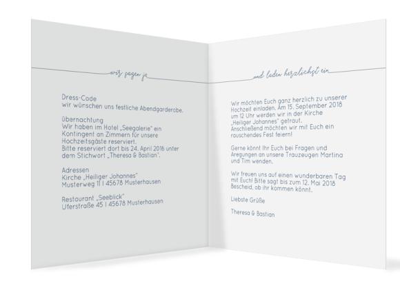 quad. Klappkarte zur Hochzeit mit einem Foto, Motiv: Warschau E, Innenansicht, Farbvariante: dunkelblau