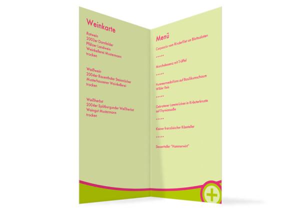 Innenansicht, Menükarte zur Hochzeit (Klappkarte), Motiv A+B, Farbversion: gruen-pink