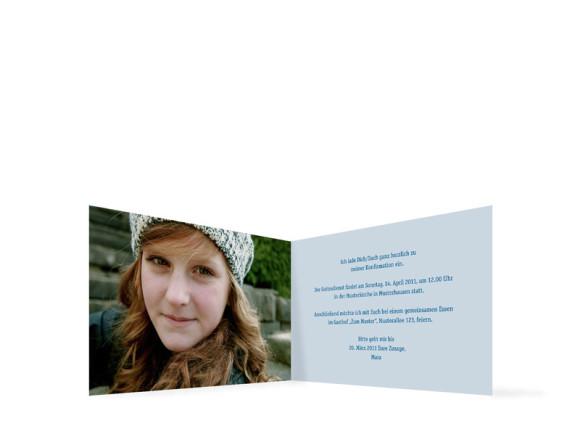 Innenansicht, Einladung zur Konfirmation, Motiv Jette/Jannik, Farbversion: blau