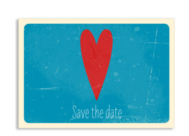 Save the Date-Karte Vintage Heart (Postkarte) Blau