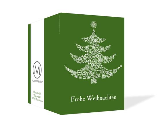 Außenansicht, Weihnachtskarte Weihnachtsbaum für Firmen, Farbversion: grün