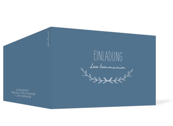 Kommunionseinladungen (Klappkarte mit einem Foto), Motiv: Zweig, Aussenansicht, Farbvariante: dunkelblau