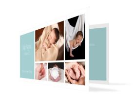 Babykarte Efie/Eddy (Klappkarte DL) Eisblau