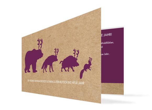 Firmen-Weihnachtskarte Waldtiere (Klappkarte)