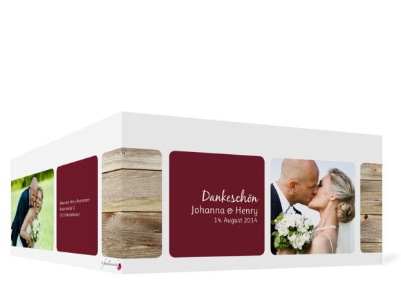 Außenansicht, Dankeskarte Zürich zur Hochzeit, Farbversion: bordeaux