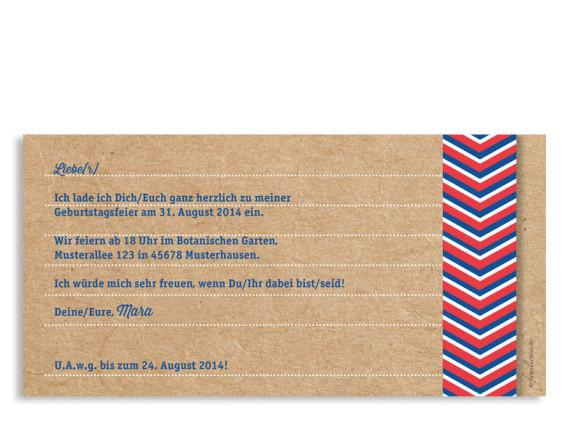 Geburtstagseinladungen Fähnchen, Rückseite der Farbversion: blau/rot
