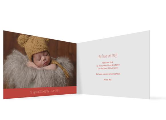 Babykarte, Motiv: Lenchen/Lenhard, Innenansicht, Farbversion: apricot