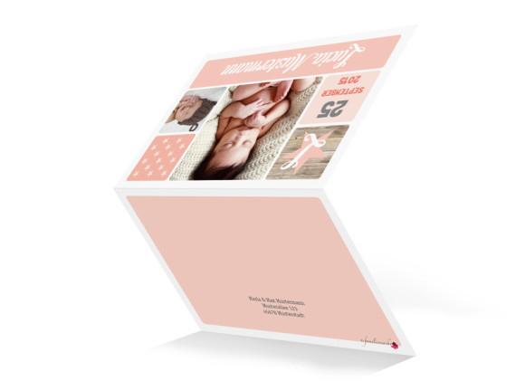 Geburtskarte (Klappkarte), Motiv: Lucia/Luca, Aussenansicht, Farbversion: apricot