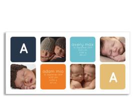Zwillingskarte Ava/Avery (Postkarte) Dunkelblau