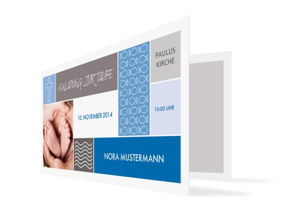Einladungen zur Taufe Nora/Neo (Klappkarte)